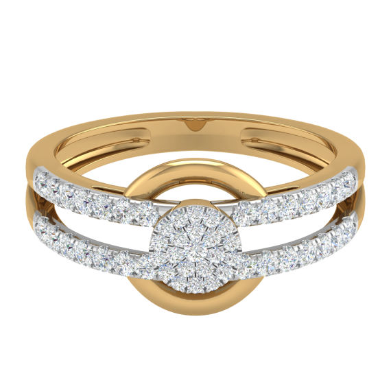 ROUND SOLITAIRE LOOK FANCY RING BROAD